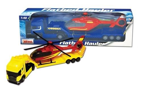 Samochód ciężarowy Scania laweta z helikopterem 1:48 mix (001-10872)