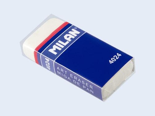 Gumka Milan z kauczuku syntetycznego w kartonowej osłonce, biała 24 sztuki