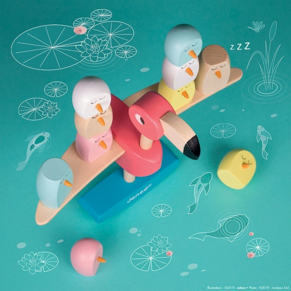 Gra balansowa, drewniana - Flamingi (J08230)