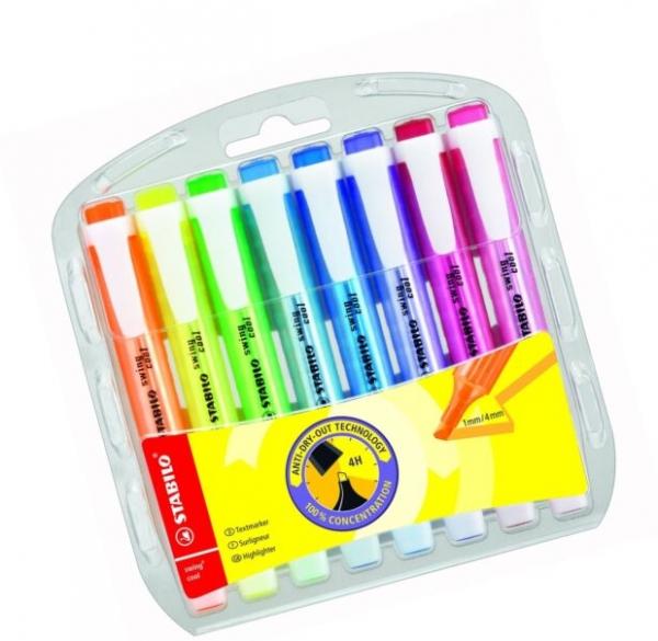 Zakreślacz Swing Cool etui 8 kolorów STABILO