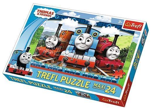 Puzzle 24 elementy maxi Wesołe lokomotywy (14231) (Uszkodzone opakowanie)