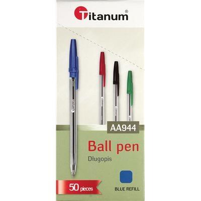Długopis Titanum AA944, 50 szt. - niebieski (71049)