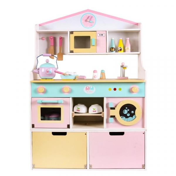 Drewniana kuchnia z akcesoriami i światłem. Duża. Pastelowa (MSN19031)