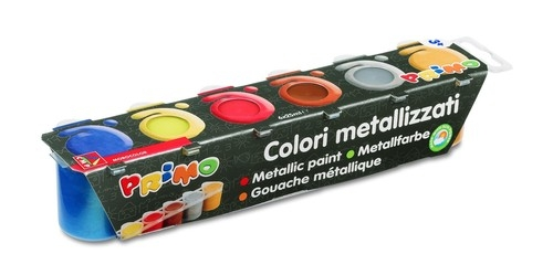 Farby Primo metalizujące 6 kolorów w plastikowych pojemniczkach