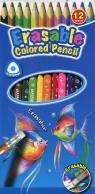 Kredki ołówkowe Keyroad trójkątne z gumką 3mm 12 kolorów