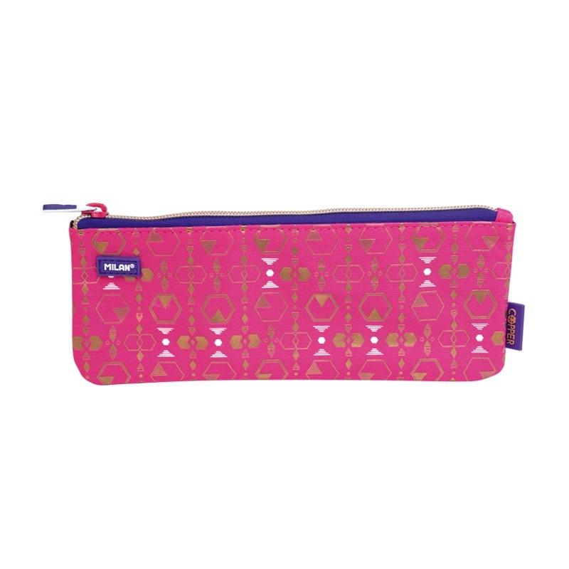 Piórnik mały płaski MILAN COPPER III, różowy (081118CP3P)