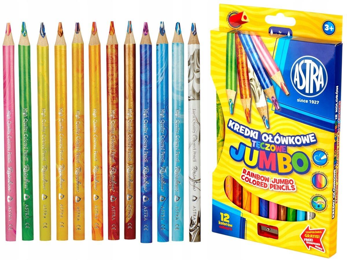 Kredki ołówkowe Astra Jumbo trójkątne tęczowe + temperówka, 12 kolorów (312118002)