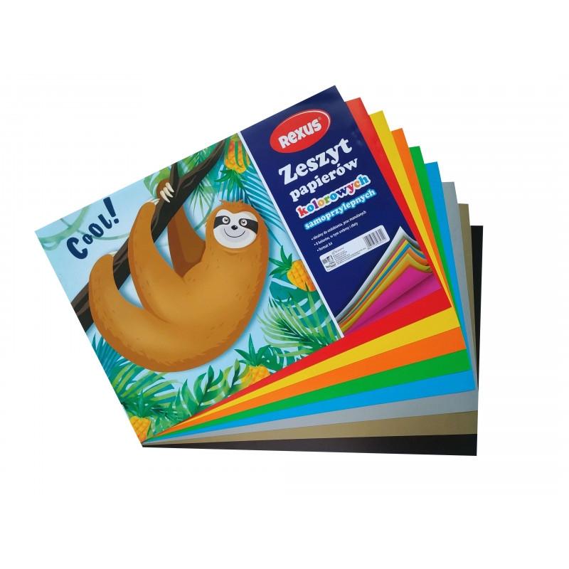 Zeszyt papierów kolorowych samoprzylepnych A4, 8 arkuszy (603531)