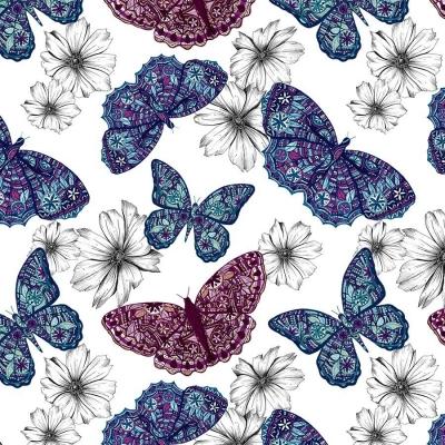 Karnet Swarovski kwadrat CL0407 Etniczne motyle