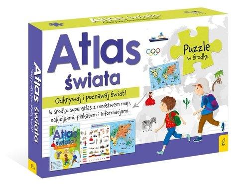 Atlas Świata +Plakat z mapą +Puzzle