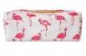 Piórnik biały Różowe Flamingi