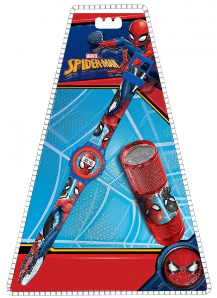 Zestaw zegarek cyfrowy z latarką LED - Spiderman (MV15774)
