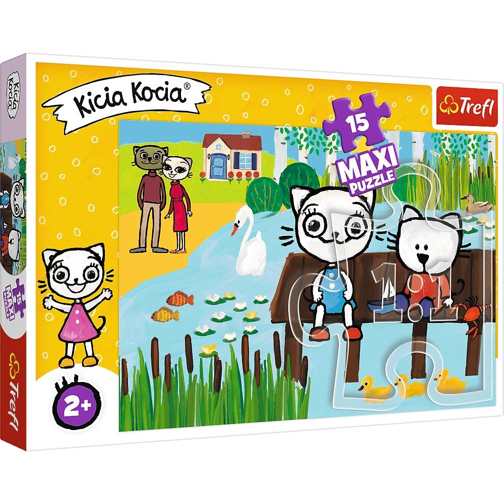 Puzzle Maxi 15: Kicia Kocia nad jeziorem (14331) (Zgnieciony kartonik)