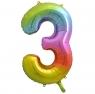 Balon foliowy Godan cyfra 3 tęczowy 85cm 40cal (HS-C34T3)