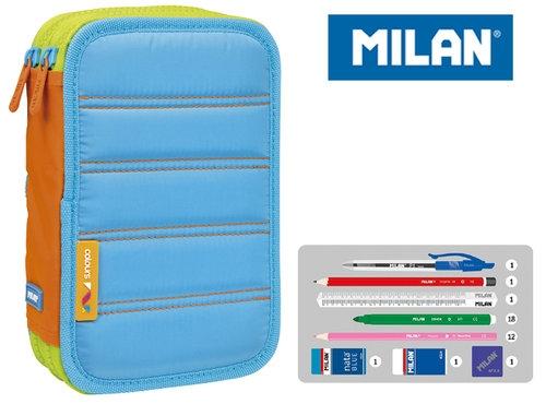Piórnik MILAN 2-poziomowy z wyposażeniem COLOURS niebieski