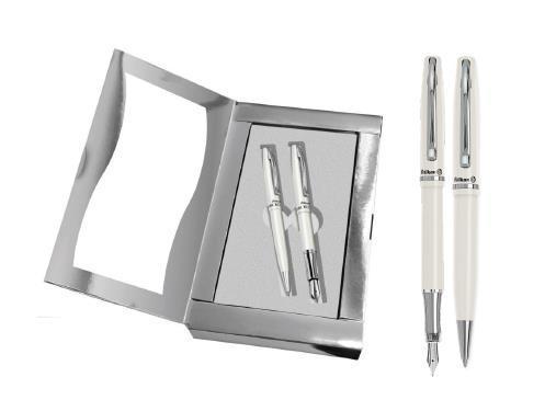 Metalowe pióro wieczne Jazz elegance + długopis biały
