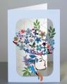 Karnet PM232 wycinany + koperta Kobieta z kwiatami