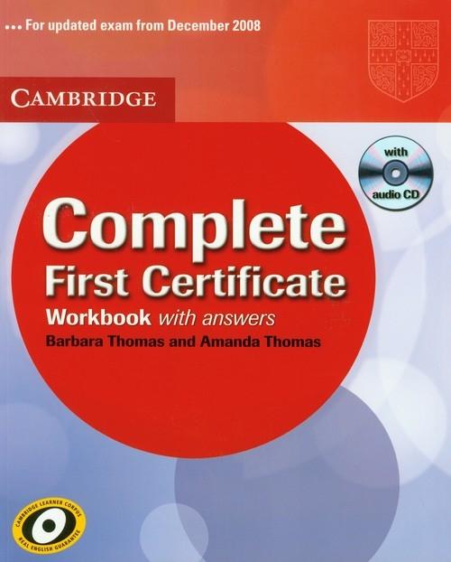 Complete First Certificate workbook with CD Thomas Barbara, Thomas Amanda