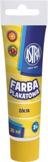 Farby plakatowe zółta Tuba 30 ml  Astra