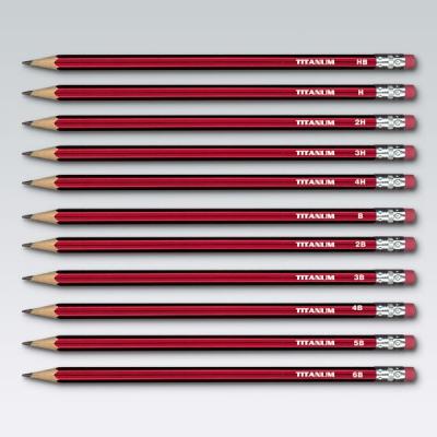 Ołówki techniczne Titanum z gumką HB -opakowanie 12szt. (83400) 83400