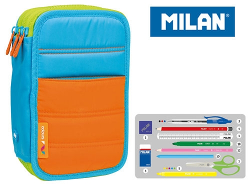 Piórnik MILAN 3-komorowy COLOURS niebieski