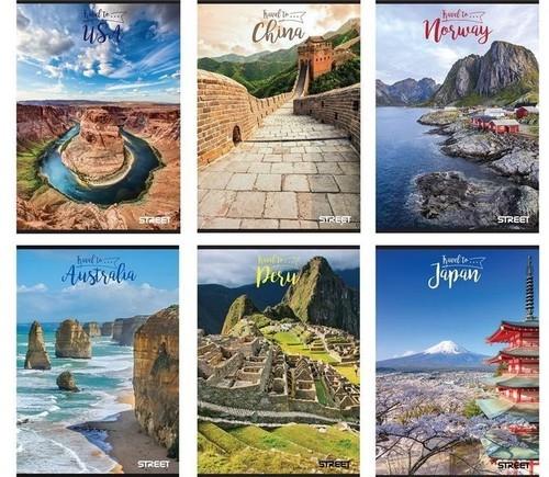 Zeszyt A4 Street travel To w kratkę 54 kartek 10 sztuk mix wzorów