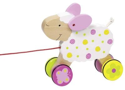 Drewniana owieczka do ciągnięcia (GOKI-54932)