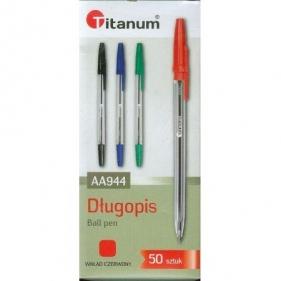 Długopis Titanum AA944, 50 szt. - czerwony (71051)