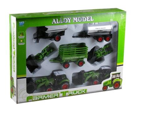 Zestaw farmera traktor + wymienne łyżki + przyczepy