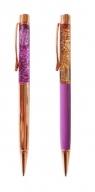 Długopis fioletowo złoty brokatowy