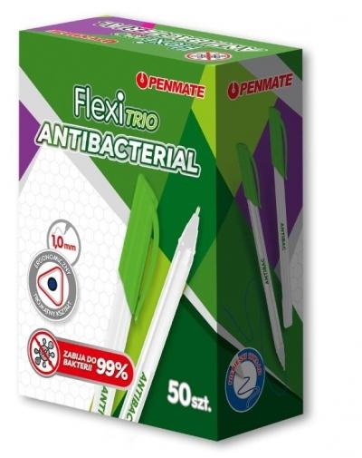 Długopis Flexi Trio Jet Antibacterial niebieski (50 szt.)