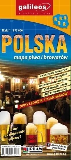 Mapa piwa i browarów - Polska 1:875 000 praca zbiorowa