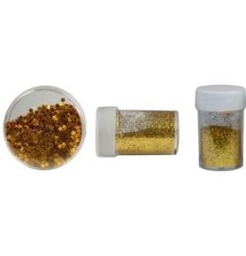 Zestaw dekoracyjny: brokat i konfetti złoty (307631)