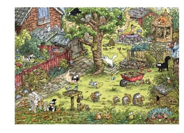 Puzzle 1000 elementów Koty Simona, Zabawy w ogrodzie (Puzzle+plakat) (29933)