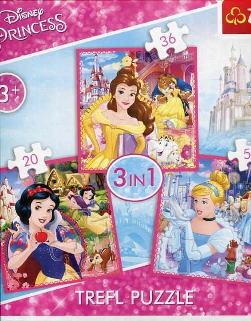 Puzzle 3w1. Zaczarowany świat księżniczek