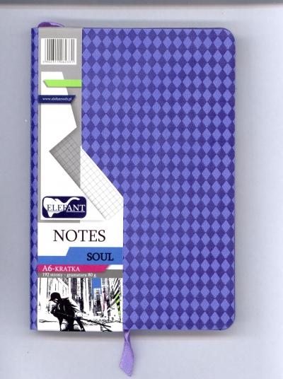 Notes Soul A6 kratka liliowy .