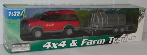 Samochód terenowy z przyczepą rolniczą 1:32