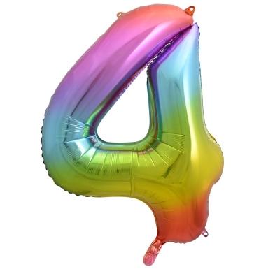 Balon foliowy Godan cyfra 4 tęczowy 85cm 40cal (HS-C34T4)