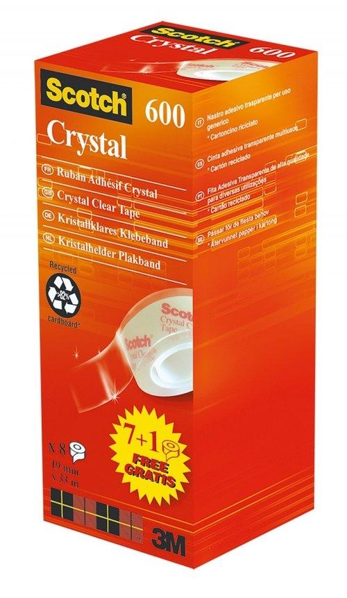 Taśma biurowa SCOTCH Crystal (6-1933R8), 19mm, 33m, 7 sztuk