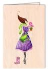 Karnet drewniany C6 + koperta Kobieta z konewką