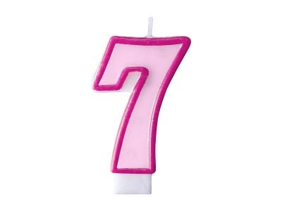 Świeczka urodzinowa Partydeco Cyferka 7 w kolorze różowym 7 centymetrów (SCU1-7-006)