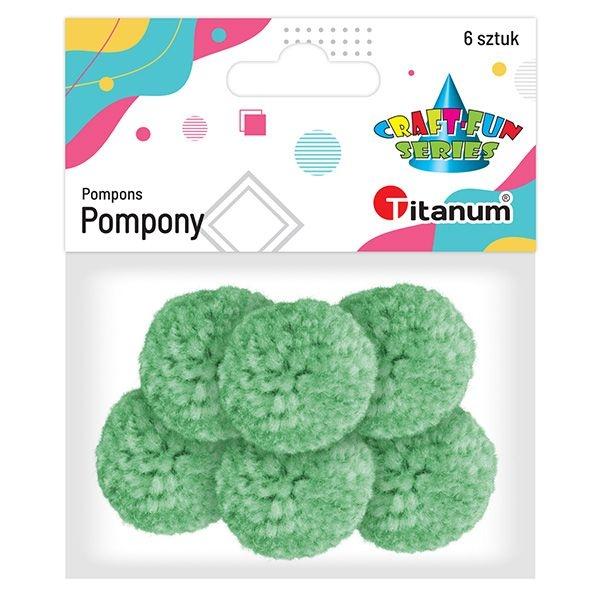 Pompony 3 cm, miętowe - 6 szt. (412948)