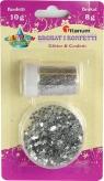 Zestaw dekoracyjny: brokat i konfetti srebrny (307632)