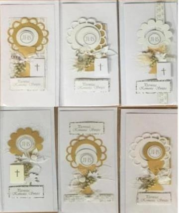 Karnet Komunia DL ręcznie robiony + koperta