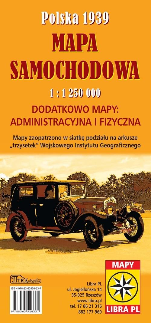 Polska 1939 Mapa samochodowa 1: 1 250 000