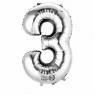 Balon Cyfra NR.3 srebrny 45,5CM