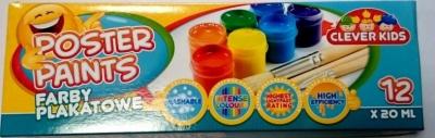Farby plakatowe 12 kolorów, 20 ml Clever Kids