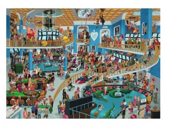Puzzle 1000 elementów Szalony Chaos w kasynie, Oesterle (Puzzle+plakat) (29934)