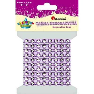 Taśma kryształowa 0,6cm x 15m - fioletowa (363495)