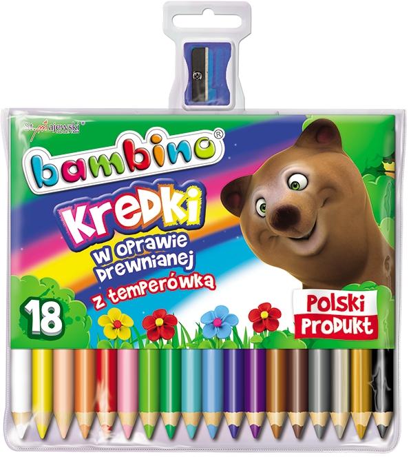 Kredki Bambino drewniane 18 kolorów z temperówką